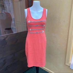 Synergy orange organic tank dress arrow tribal M